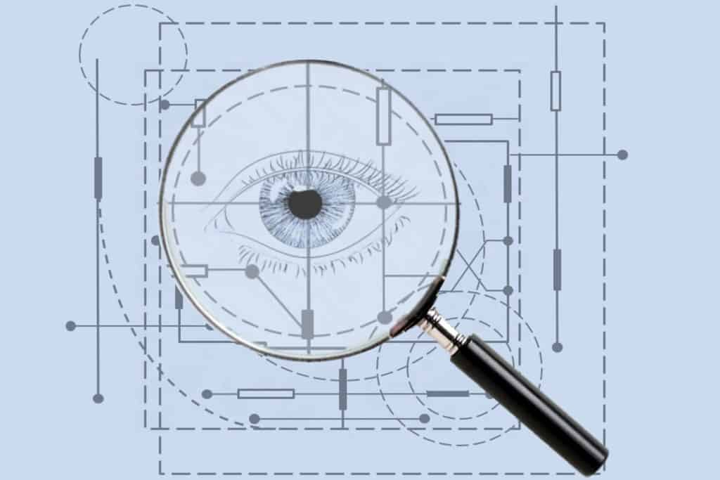 Blueprint with Magnifying Glass