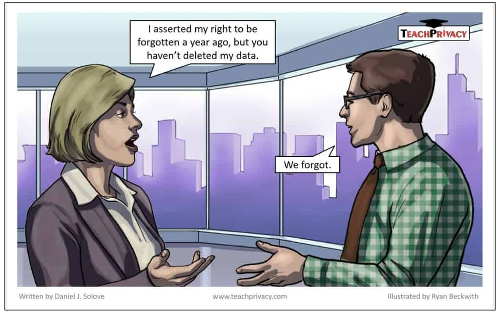 Cartoon GDPR Right to Be Forgotten - TeachPrivacy GDPR Training